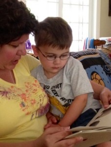 Jack and Auntie Chelle reading