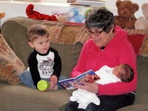 Grammy reading to Jack and Jillian